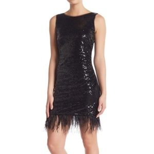 JAY X JAYGODFREY Olma Sequin Feather Trim Dress